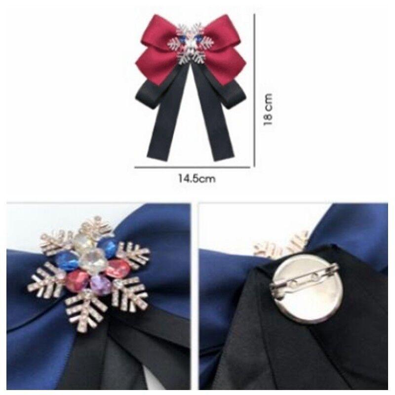 Women's Bow Ties Satin Snowflake Crystal Pin Necktie Party Show Accessory Retro