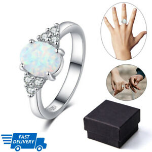 925-Sterling-Silver-White-Gemstone-Jewelry-Ring-Fire-Opal-Solid-Multi-color-amp-Size