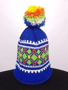 Vintage WIGWAM Wool Ski Hat Winter Multi Color Cap w  Pompom Made in ... 35e8764af27