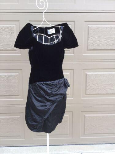 Scaasi Boutique Couture Black Velvet Satin Dress,… - image 1