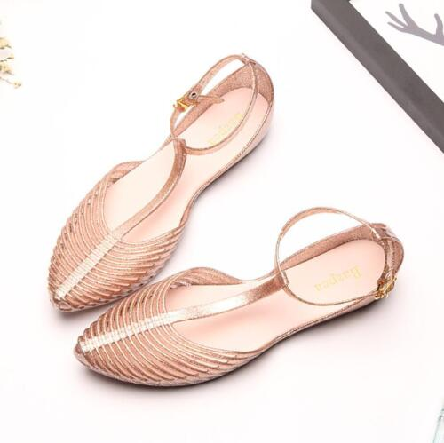 Ladies Women T-strap Summer Beach Shoes Sandals Flat Jelly Roman Ankle Strap New