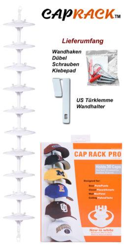Cap Rack PRO Kappenhalter in Weiss mit 10 Clips für bis zu 30 Baseball Caps