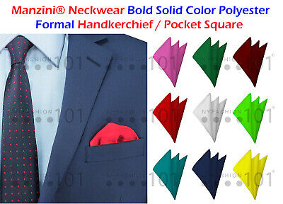 NYFASHION101 Bold Solid Color Polyester Formal Handkerchief Pocket Square