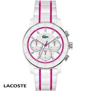 Lacoste-2000843-Charlotte-weiss-pink-Chronograph-Armband-Uhr-Damen-NEU