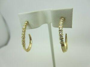 "14K Yellow Gold and 0.50 Carat Diamond Hoop Earrings 1"" Long"