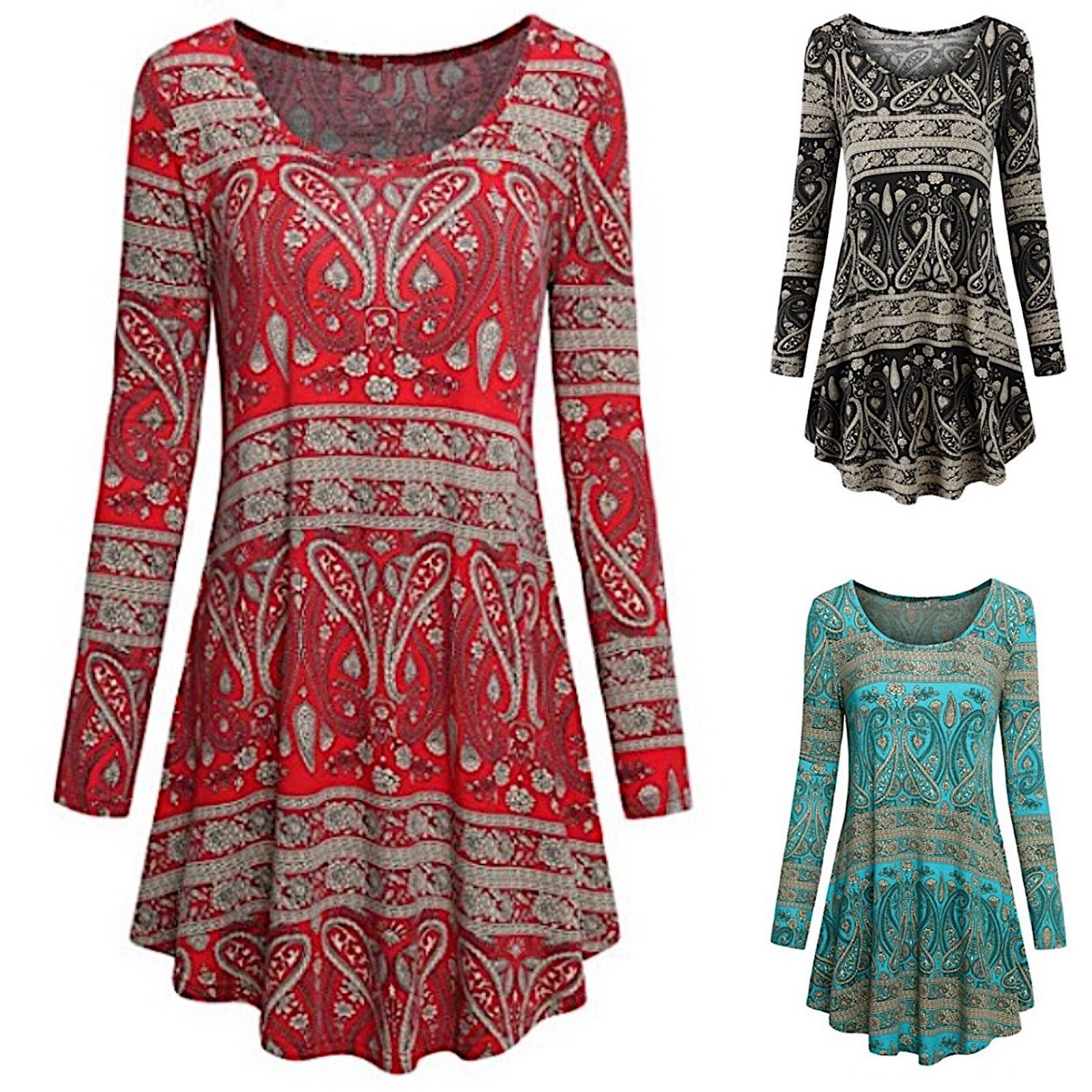 Maglia damen Stampa Etnica Manica Lunga Woman Long Sleeve T-Hemd 561043 P