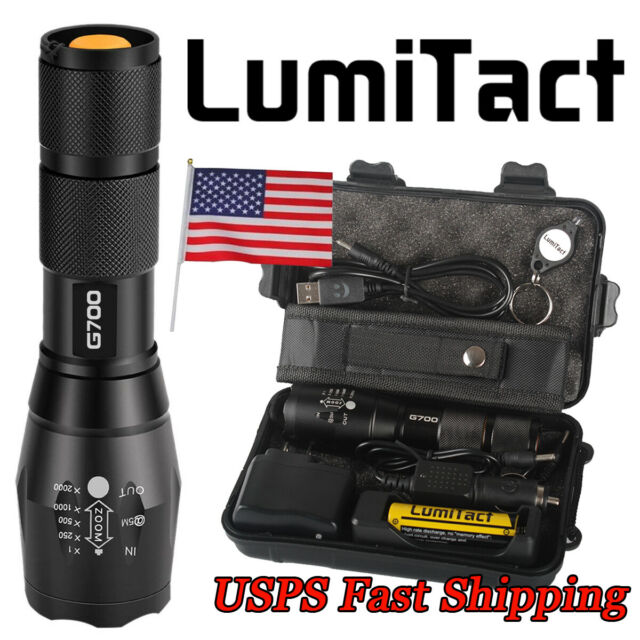 100% Genuine Lumitact G700 20000lm LED Tactical Flashlight Military Torch LAMP