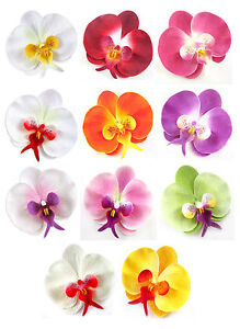 "(10pcs) 3.75"" Silk Butterfly Orchid Heads - Artificial Flowers - Fabric"