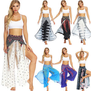 Women-Slit-Flared-Palazzo-Trousers-Wide-Leg-Yoga-Sport-Afghani-Genie-Harem-Pants