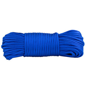 Paracord 100ft Electric Blue Mil Spec 7 Strand Parachute Cord Outdoor Rope 100ft