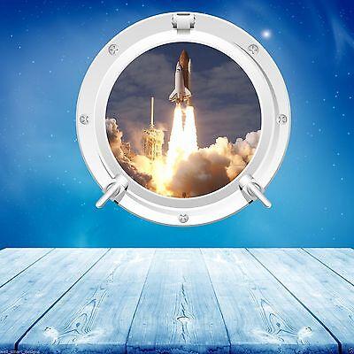 volle Farbe Raum Bullauge Shuttle Rakete Start Wandsticker Aufkleber wsd650