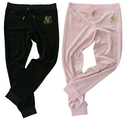 Juicy Couture Zuma Pant Jogging Bottoms Jc Floral Bling Velour Banded Cuff Slim Ebay