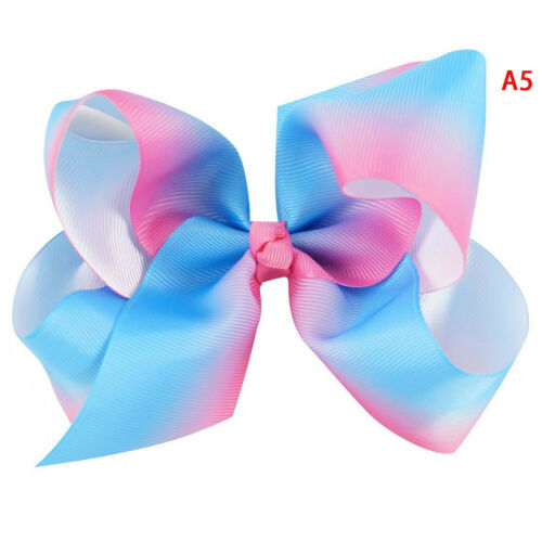 """5/"""" Rainbow hair bow with clips for kids girls boutique plaid printed ribbon bowA"""