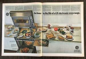 ORIGINAL-1968-GE-Electronic-Oven-Range-2-Page-PRINT-AD-26-Different-Foods