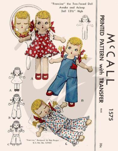 Riproduzione vintage Francine i due davanti doll Sewing Pattern M 1575 SWAN/'S Vint
