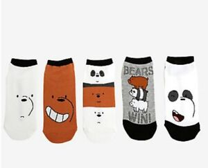 cartoon network we bare bears win 5 pack no show ankle socks gift