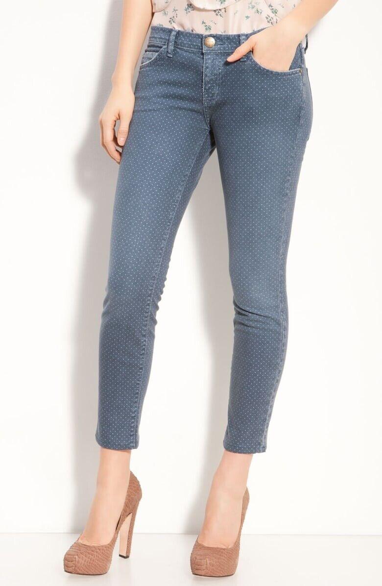 Anthropologie Current Elliott bluee Polka Dot Stiletto Skinny Jeans Lake Wash 31