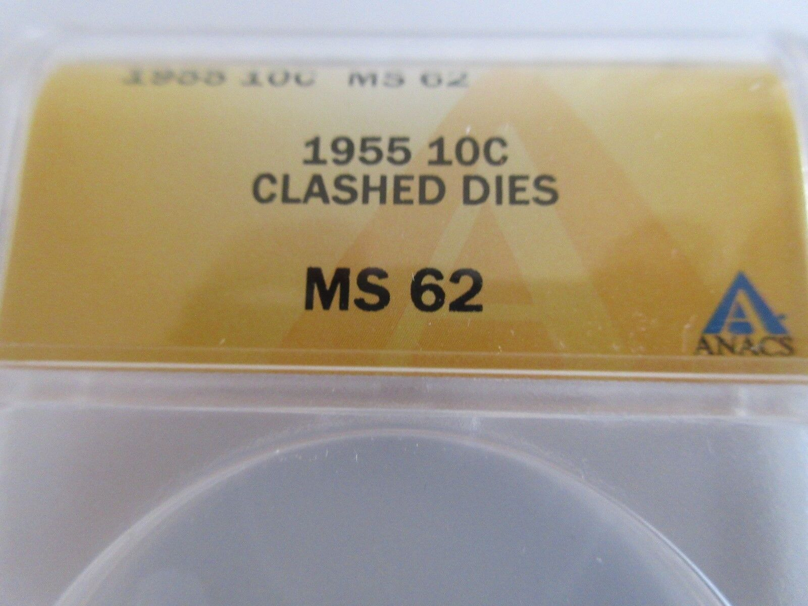 1955 , Roosevelt Dime , ANACS , MS 62 , CLASHED DIES