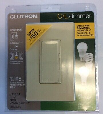 Dimmer Switch for Dimmable LED Lutron 1-Pole or 3-Way Diva LED Halogen /&Incan.