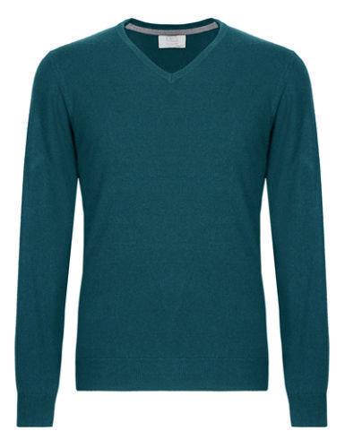 "Men/'s New Marks /& Spencer Coton Riche Col V Pull Taille L 42/"" Tour De Poitrine Vert"