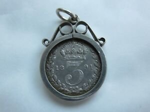 SOLID-STERLING-SILVER-PENDANT-CHARM-WITH-VICTORIAN-SILVER-3d-COIN