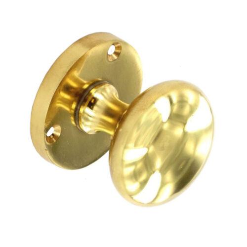 Laiton Poignées de porte en poli avec à Mortaise Porte Bouton Rose 52 mm Bouton Diamètre