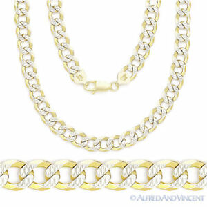 Cuban-Curb-Sterling-Silver-14k-Yellow-Gold-Men-039-s-5mm-Link-Chain-Necklace-Italy