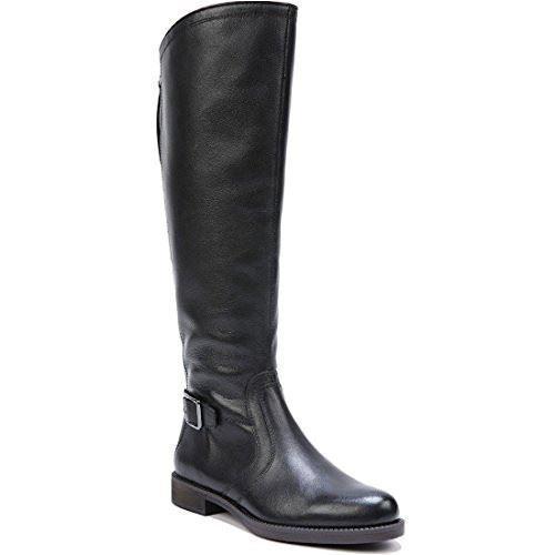 Franco Sarto Carlana' Black Leather Tall Riding Boot Buckle Back Zipper 6M NEW