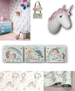 Rainbow Unicorn Pretty Bedroom Room Glitter Wallpaper & Matching ...