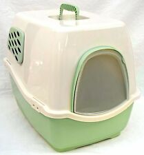 Marchioro 38513 Bill 1f Covered Cat Litter Pan With Filter Tan & Jade Green
