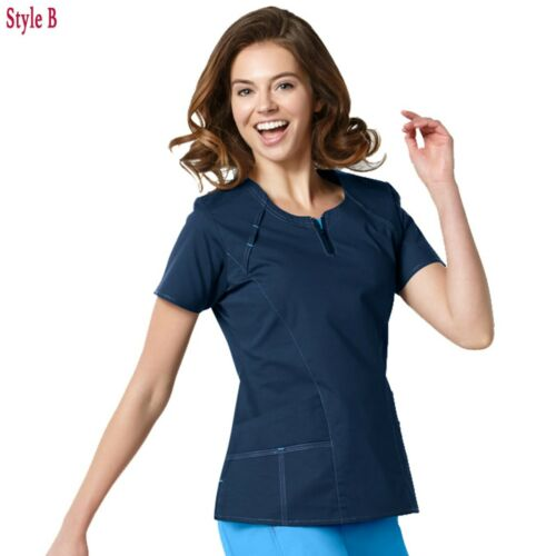 Contrast V-Neck WonderWink Scrubs FLEX Women/'s V-Neck Mock Wrap Zip Top