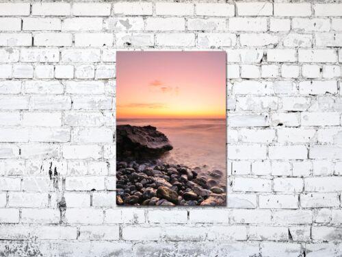 Premium Glasbild AG5705000892 DEKO 50 x 70 cm STRAND STEINE ROSE