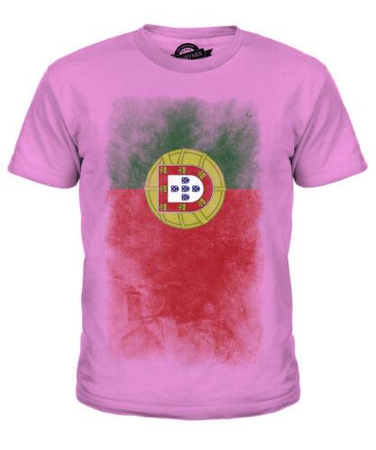 Portogallo Bandiera Sbiadito Bambini T-Shirt Tee Top Camicia portoghese FOOTBALL JERSEY Regalo