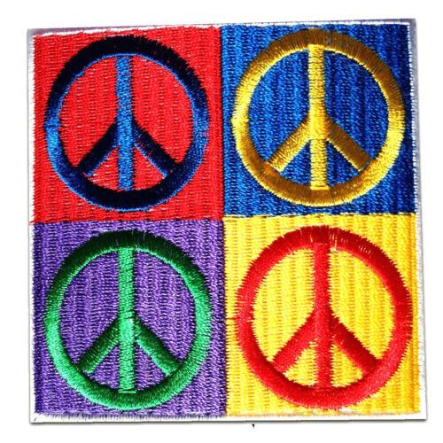 7 x 7 cm Patches Aufbügeln bunt Aufnäher // Bügelbild Peace Hippie