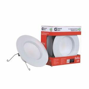 Commercial Electric 5 in and 6 in 2700K White LED Recessed Trim with