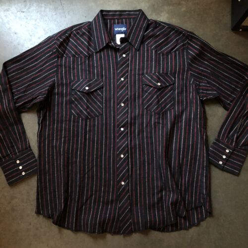 Vintage Striped Southwestern Button Up  Black Grey Red  90s 1990s Nineties  Mens Womens Large Extra Large XL  Cowboy  Western  Oxford