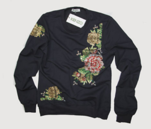 5d872ae83 KENZO PARIS Black Floral Sweatshirt size