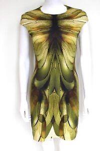 MCQ-ALEXANDER-MCQUEEN-Dragonfly-Wing-Yellow-Green-Print-Dress-S