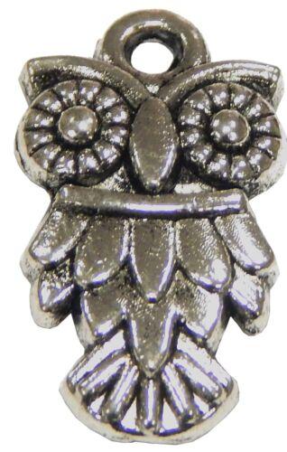 10 Métal Pendentif Hibou Argent 20 mm pour collier charm armbänd Bijoux m482