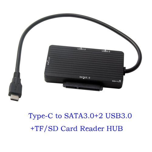 USB 3.1 Type-C to SATA 3.0 III SD TF Micro SD Card Reader HUB Adapter new