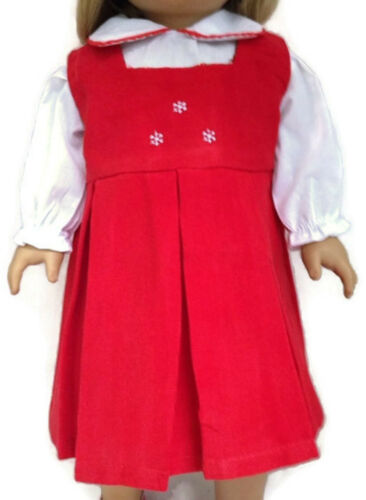 Hat /& Blouse for 18 inch American Girl Doll Clothes Red Corduroy Dress