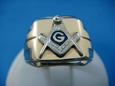 """14K GOLD MASONIC MEN'S VINTAGE """"COMPASS"""" RING WITH OLD CUT DIAMOND, 9.4 GRAMS"""