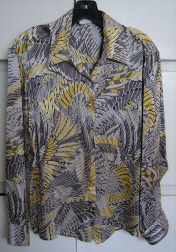 SALVATORE FERRAGAMO Shirt Feather Print Silk Blous