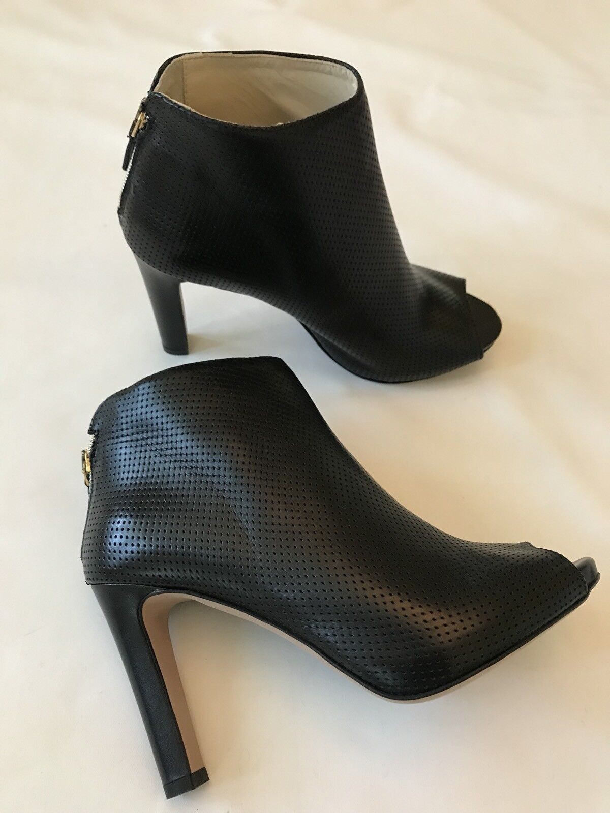 LA PERLA LEATHER OPEN TOES BOOTIES shoes SZ 40 (US 9.5-10) BLACK Made In