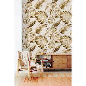 Golden Leaves Removable Wallpaper Palm Leaf Peel And Stick Tropical Floral Ebay