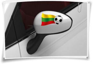 2x Lituanie Drapeau Des Autocollants Autocollants Football Wm Em Auto Car Rétroviseur Capuchons-afficher Le Titre D'origine