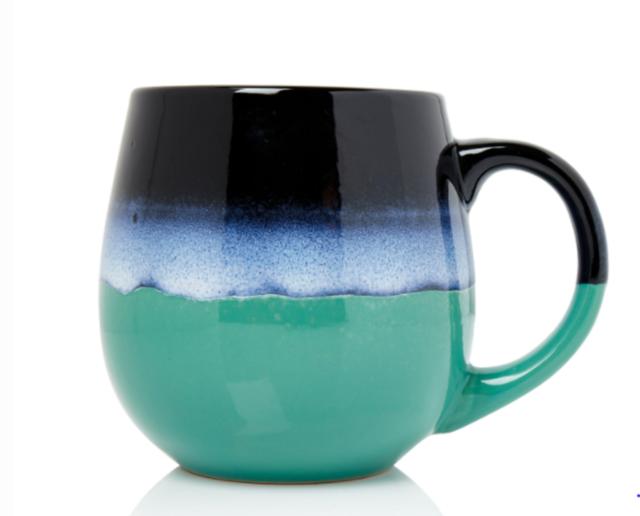 500ml Stoneware Reactive Glazed Mug Coffee Tea Cup 2-Tone Black Teal Ombre Blue