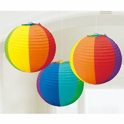 Pride Rainbow Round Lanterns 3pk Festival Parade Party Decorations