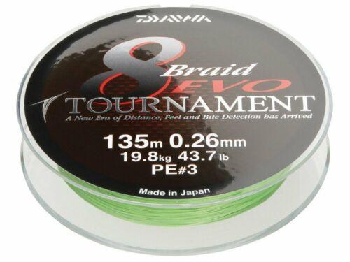 0.35mm Chartreuse Braided line Daiwa Tournament 8 Braided Evo 300m 0.08mm