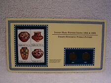 1904 & 1905  Indian Head Pennies  -  Pottery  Coin & Stamp Commemorative Panel